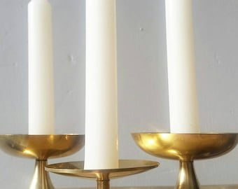 Trio of Three Solid Brass Candle Holders. Pillar Candle Holders. Candlestick Holders. Vintage Brass decor.