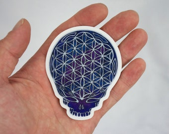 Grateful Dead  Sticker, Stealie Skull Sacred Geometry Sticker Psychedelic Sticker Galaxy Grateful Dead Sticker Laptop Sticker Circle of Life