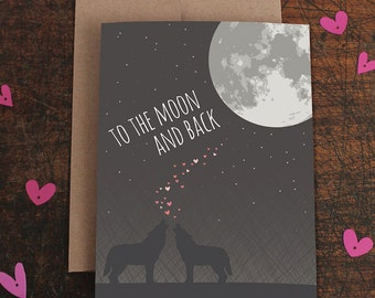 anniversary card / i love you to the moon and back / wolves