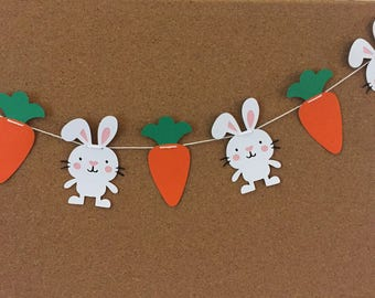 Rabbit and Carrot garland, paper garland, Easter garland, Easter banner, Bunny and Carrot garland