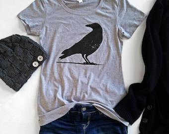 Women's Raven Tee | Halloween Tee | Heather Gray | Sizes Small - 2XL