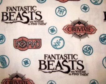 Fantastic Beasts and Where to Find Them Fleece Fabric BTY VHTF RARE