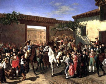 """Horses in the Courtyard before the Bullfight, Madrid, Spain, 8x10"""" Cotton Canvas Print"""