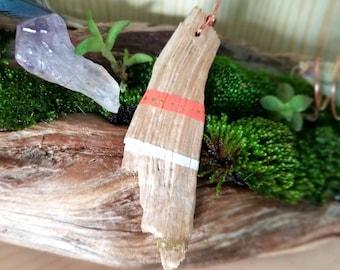 Boho Hand Painted Driftwood Pendant