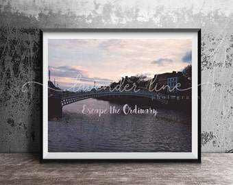 ESCAPE THE ORDINARY, Colour Photography Print, Dublin City Sunset, Typography, Inspiration, Motivation, Travel, Wanderlust, Home Decor