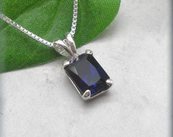 Emerald Cut Blue Sapphire Necklace, Sterling Silver, September Birthstone, Blue Sapphire Jewelry, Gemstone Necklace, Something Blue Wedding