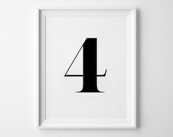 Number Four Print, Minimalist Poster, Number Wall Decor, Typography Design, Inspirational Number, Black and White, Numerology