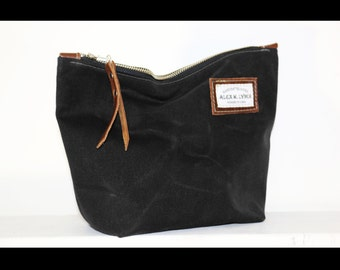 Unisex Zippered heavy waxed canvas pouch with leather accents by AlexMLynch - made in USA