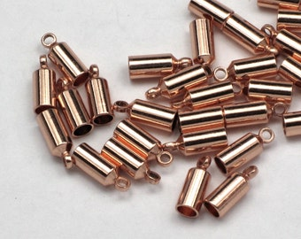 3mm End Caps (10) Copper Plated Barrel Shaped Brass, Glue In Style For Leather End Caps And Kumihimo Weaves (10/pack) |E13|
