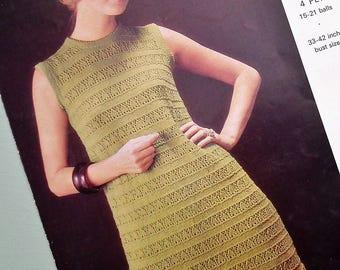 Vintage Knitting Pattern 1960s Women's Dress - Lacy Design - Retro Mod Type Dress - 60s original pattern - Emu No. 2677 UK - sleeveless