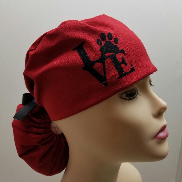 Surgical Cap Ponytail Stile Scrub Caps Personalized Love My