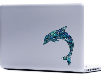 Dolphin Laptop Decal | Vinyl Decal Macbook sticker car window decal under the sea dolphins nautical ocean iphone yeti sticker cell phone