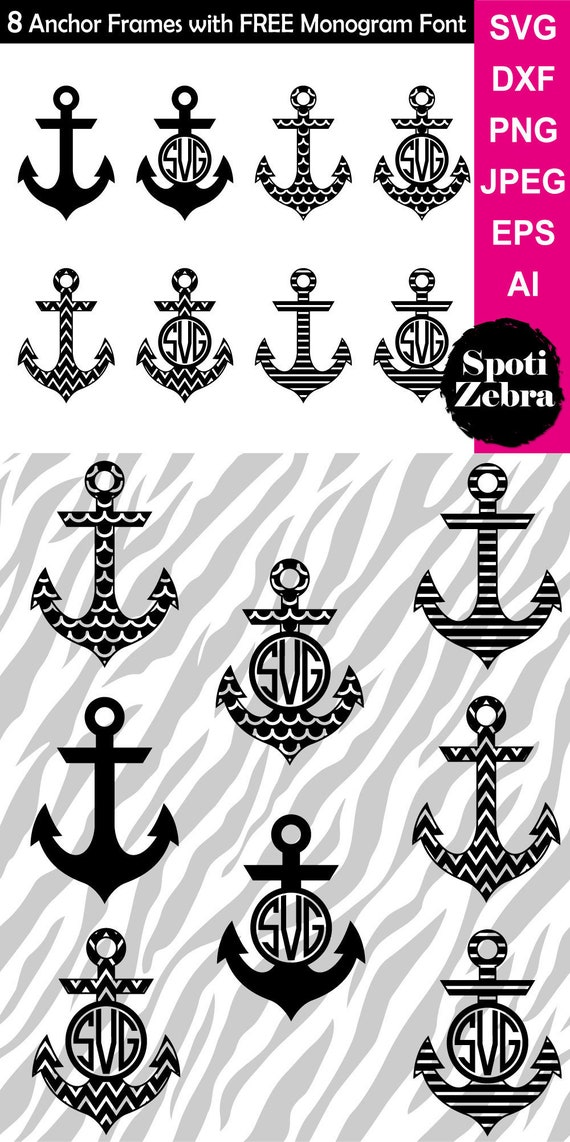 Anchor SVG Monogram Frames Borders SVG Files for Cricut Silhouette ...