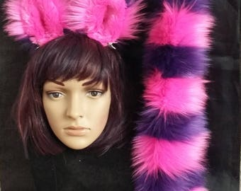 Cheshire Cat ears and tail, with wrist cuffs and leg fluffies as additional option