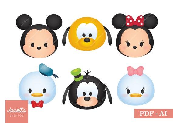 Disney Tsum Tsum Clipart 9: Tsum Tsum Disney Personajes Clipart PDF AI Mickey Minnie