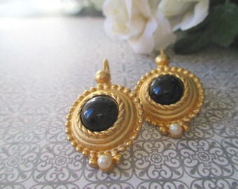 Onyx Earrings *  Faux Pearl * Classic Vintage * Gift For Lady