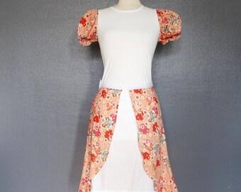 "Ensemble kawaii t-shirt et jupe ""sakura"" en tissu japonais rose et blanc Taille S/M"