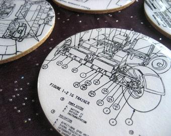 NASA Technical Diagram Coaster Set / resin & cork / Apollo Gemini Soyuz themed coaster set / nerdy home decor / spacecraft engineering
