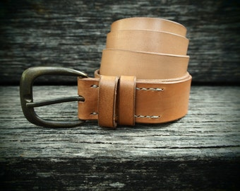 Leather belt, chestnut, handmade, self-coloured, italian cattle leather, with antiqued buckle