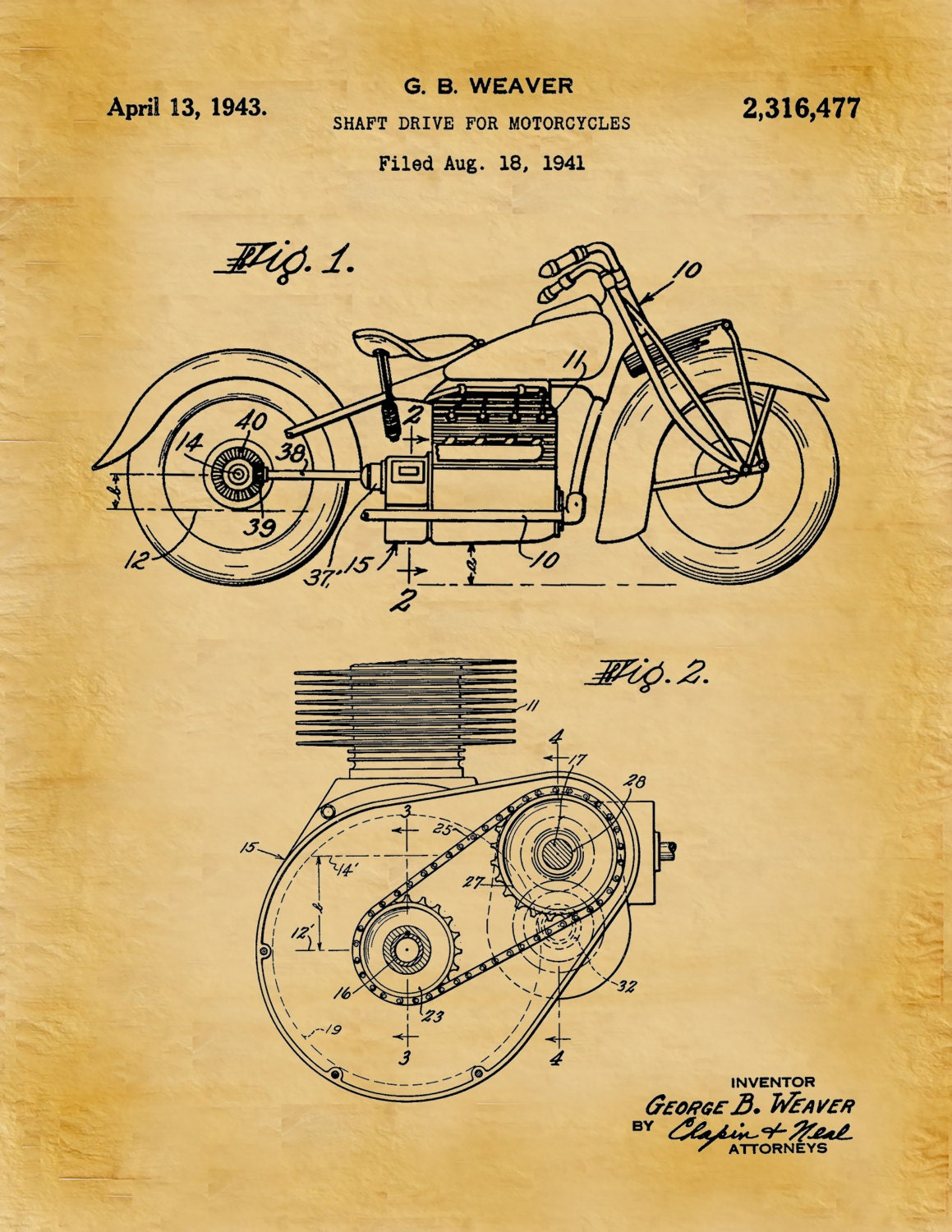 Patent 1943 Indian Motorcycle Shaft Drive Motorcycle - Poster - Wall ...