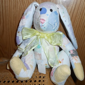 Quilted jointed Bunny, handcrafted