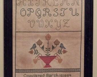 Primitive cross stitch, sampler chart/pattern,primitive needlework, band sampler, schoolgirl sampler, early American, Eliza