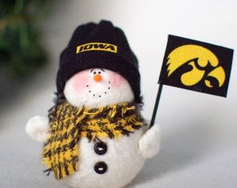 Iowa Hawkeyes Snowman Ornament