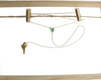 Back jewel in 14K gold and turquoise crystal - gem of ceremony / wedding jewelry