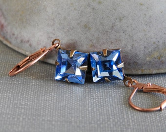Blue Earrings, Light Sapphire, Copper Earrings, Vintage Glass Charms, Faceted Blue, Swarovski Jewels, Rhinestone Earrings