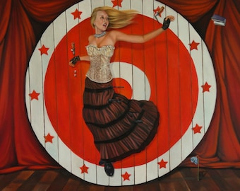 "Giclee Small Print of original painting ""The Volunteer"" , girl at circus on knife throwers board and stage with red curtains"