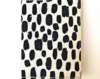 Cute Womens Wallet Dots Fabric Card Organizer Ladies Small Cotton Wallet, Wallet For Her Black Fabric Bifold Wallet Gift For Women Cash Case