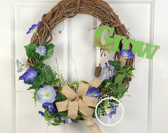 Spring Wreath, Summer Wreath, Purple Wreath, Grapevine Wreath, Wreath Street Floral, Garden Wreath, Front Door Wreath, Farmhouse Wreath