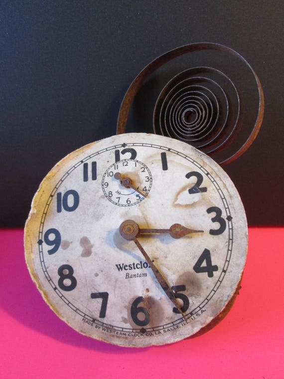 Old, Tired and Rusty/Dusty Partial Westclox Bantam Alarm Clock for your Clock Projects, Steampunk Art,