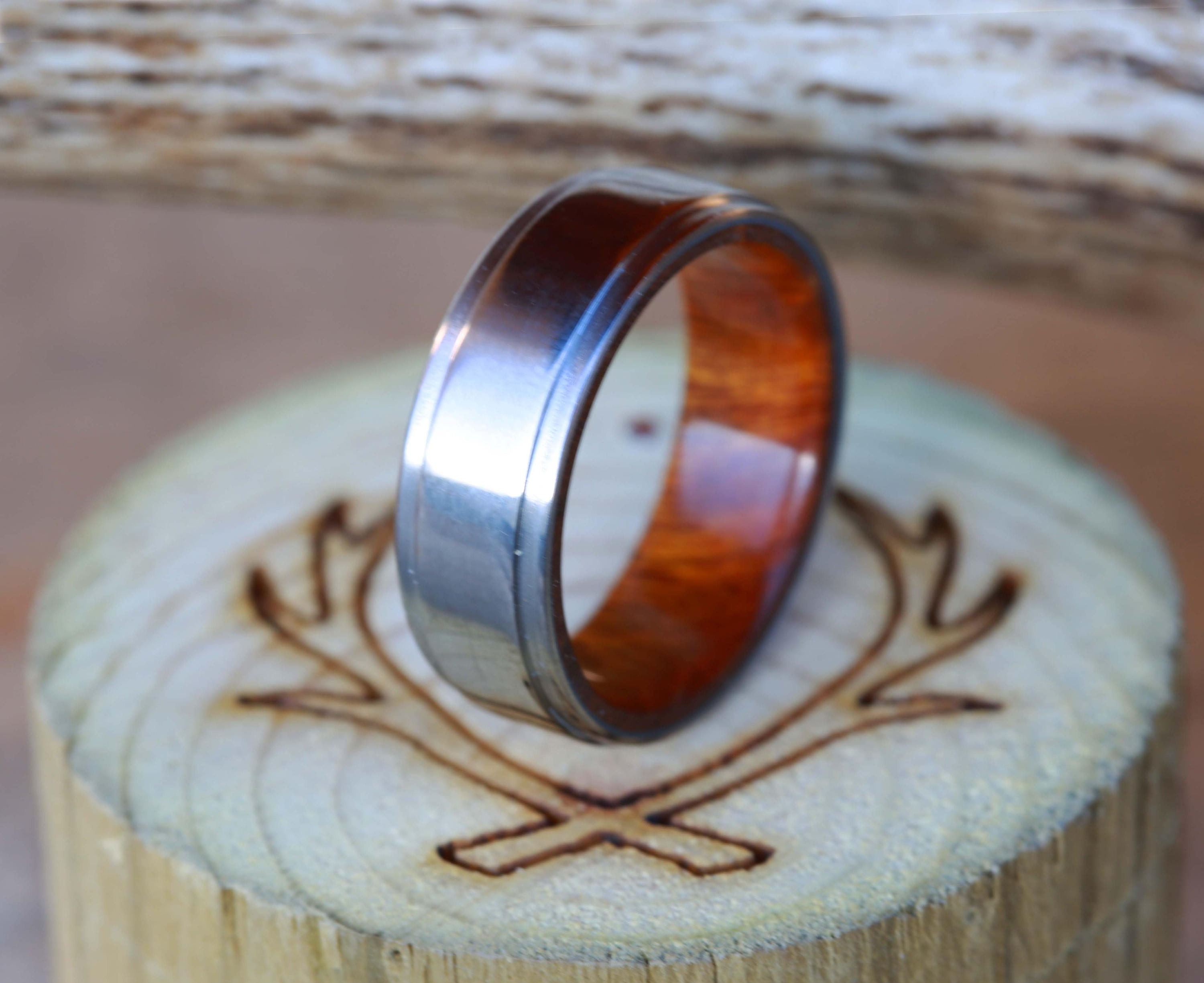 elk men ring wedding shed engagement band s string and wood antler rings naturally guitar koa inlay mens products