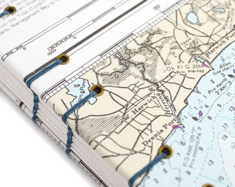 Map Journal - Unlined Journal - Harwich Port Cape Cod Journal, Dennis Port, West Harwich - made from Nautical Charts by Ruth Bleakley