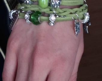 Green Suede Charm Bracelet