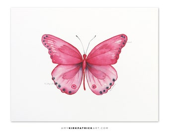 Pink Butterfly Painting, Butterfly Print, Original Pink Butterfly Watercolor, Butterfly Greeting Cards, 107 Pink Genus Butterfly
