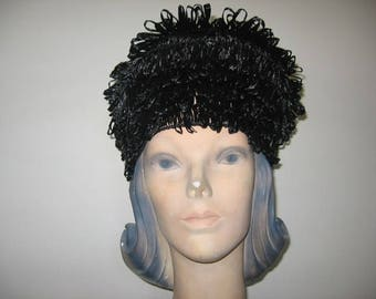 1960's Glossy Black Raffia Turban, MOD!