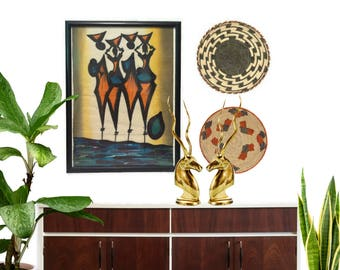 Vintage Wall Textile Wax Cloth African Print Wall Art Mid Century Modern Geometric Tribal Hand Painted Abstract Wall Hanging Africa Decor