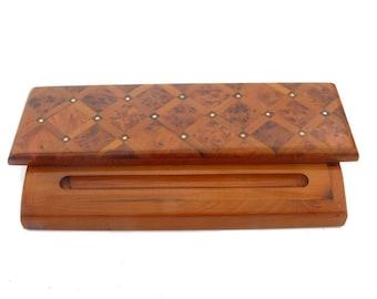 Wooden Pen Pens Holder office desk utensil case Gift Box