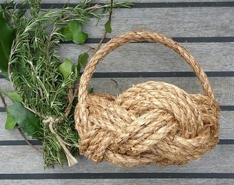 Rustic Flower Girl Basket, Bridesmaid,Spring Summer Wedding, Natural Rope Bowl with Handle. Nautical Knot Planter. Hand made, no glue used.
