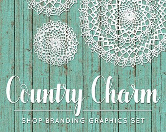 Rustic Crochet Shop Branding Banners, Avatar Icons, Business Card, Logo Label + More - 12 Premade Graphics Files - COUNTRY CHARM