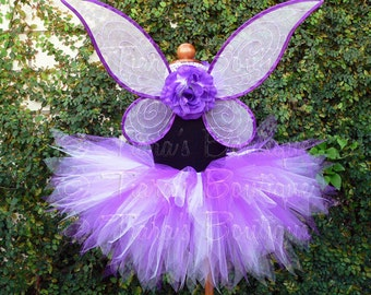 Simply Purple Fairy Set - Custom Handmade Pixie Wings and 11'' SEWN Pixie Tutu - sizes up to 5T