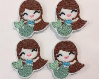 Mermaid with Brown Hair Feltie Set of 4 - Summer Feltie - Ocean Feltie