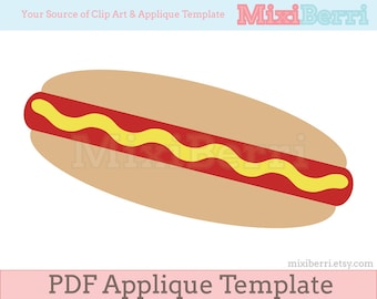 Hot Dog Applique Template PDF Instant Download