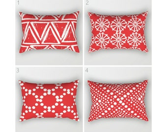 Red Lumbar Pillow . Toddler Pillow . Geometric Pillow . Modern Red Cushion . Rectangle Throw Pillow . Red Pillow . Travel Pillow 14 x 20