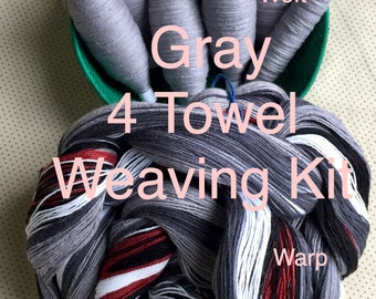 Gray Striped Weaving Kit for 4 Towels, Weaving Loom Kit, How to Weave Kit, Loom Weaving, DIY Weaving Kit, Pre-wound Warp, Handweaving