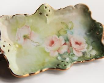 Vintage Hand Painted Porcelain Trinket Dish ~ Pink Roses ~ Victorian / Edwardian Charm Ring Holder