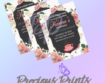 Printable Girls Tea Party Birthday Invitation