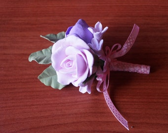 Grooms buttonhole Polymer clay wedding buttonhole Romantic boutonniere Handmade wedding accessories for men polymer clay flower